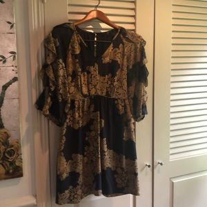 Navy Tibi dress with gold lace print
